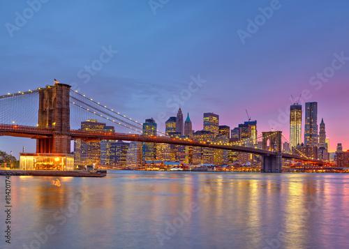 Printed kitchen splashbacks Brooklyn Bridge Brooklyn bridge and Manhattan at dusk