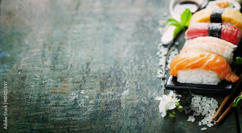 Poster Sushi bar sushi with chopsticks