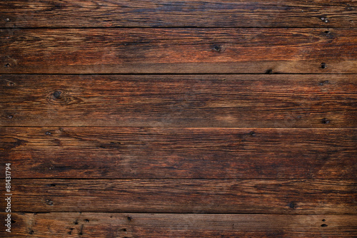 Poster Bois Old red wood background, rustic wooden surface with copy space