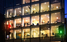LONDON, UK - DECEMBER 19, 2014: Late Office Workers