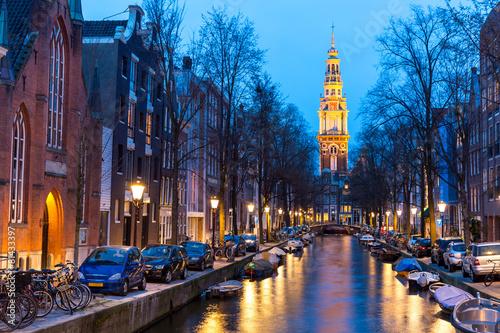 Photo  South Church Zuiderkerk Amsterdam at dusk