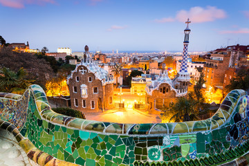 Obraz na Szkle Barcelona Barcelona, Park Guell after sunset