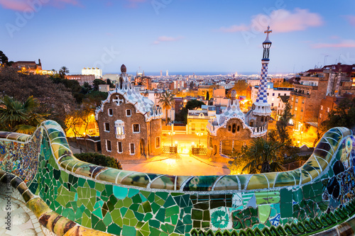 Poster Barcelona Barcelona, Park Guell after sunset