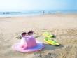 flip flop on the sand beach