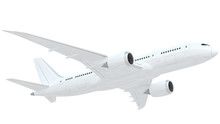 White Airplane Isolated On White Background.
