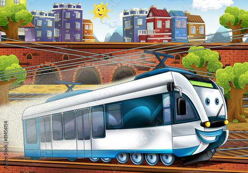 cartoon-szybki-pociag-dworzec-ilustracja
