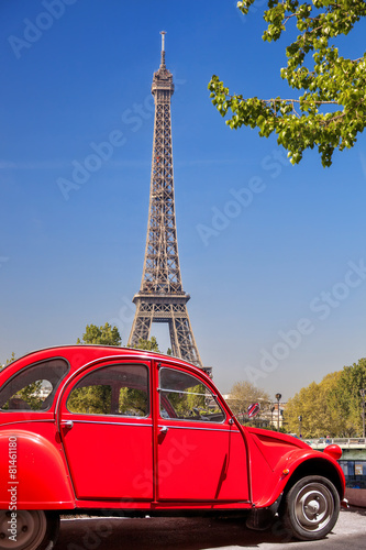 Fototapety, obrazy: Eiffel Tower with old red car in Paris, France