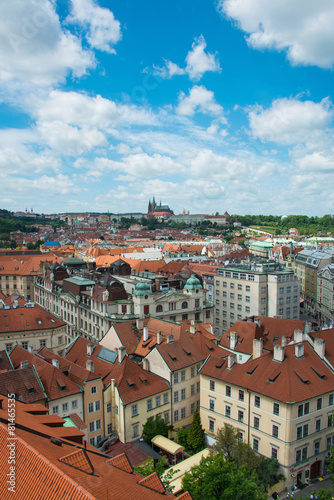 Spoed Foto op Canvas Bedehuis View of Prague on bright summer day