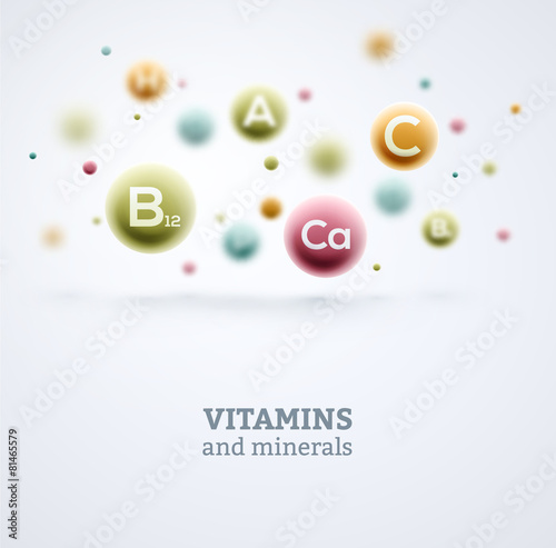 Fotografie, Obraz  Vitamins and Minerals