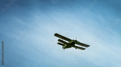 Tuinposter Helicopter biplane