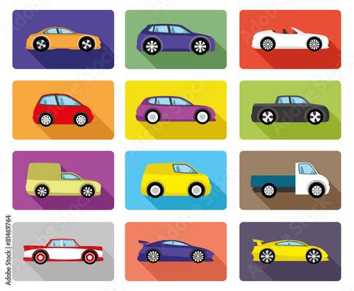 Staande foto Cartoon cars Vector set. Car icons.