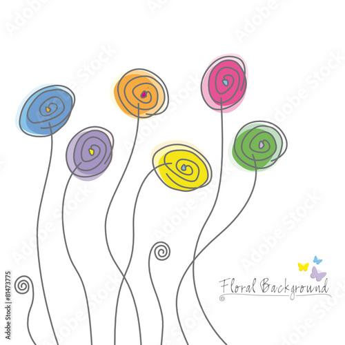 Fotobehang Spiraal Bunte Blumen
