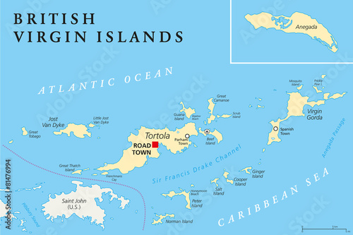 British Virgin Islands Political Map - Buy this stock vector and ...