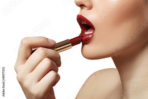 Fotografie, Obraz  beautiful lips painted red lipstick