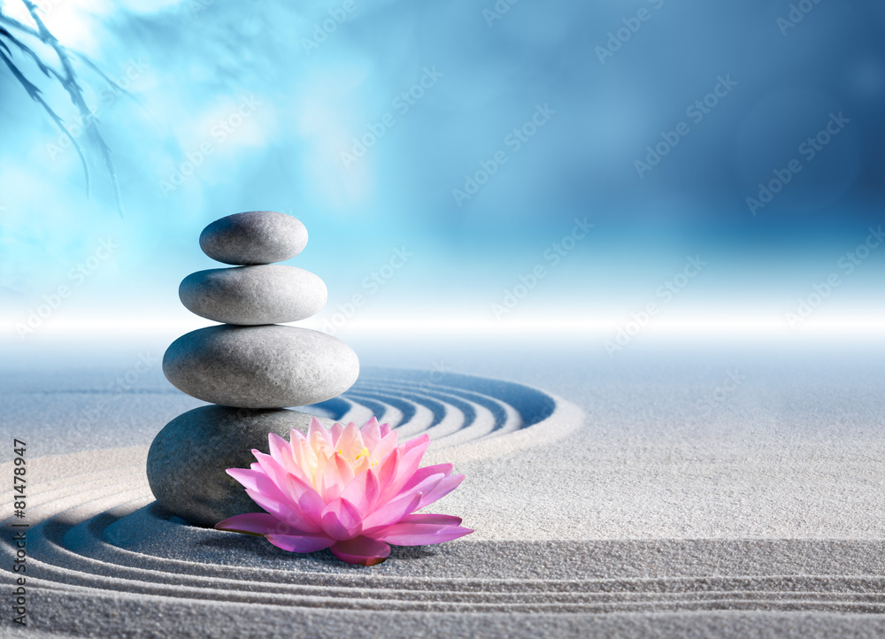 Fototapeta sand, lily and spa stones in zen garden