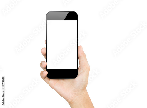 Fotografie, Obraz  closeup hand hold smartphone mobile isolated on white