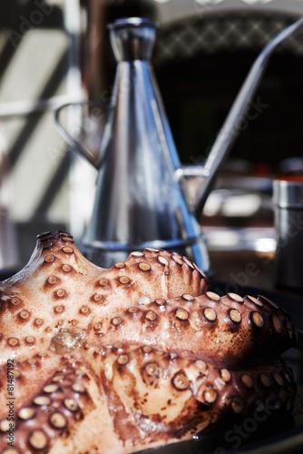 Foto op Aluminium Schaaldieren Pulpo a la Gallega, pulpo a feira. Marinated Octopus
