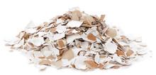 Heap Of Crushed Egg Shells Isolated On White Background