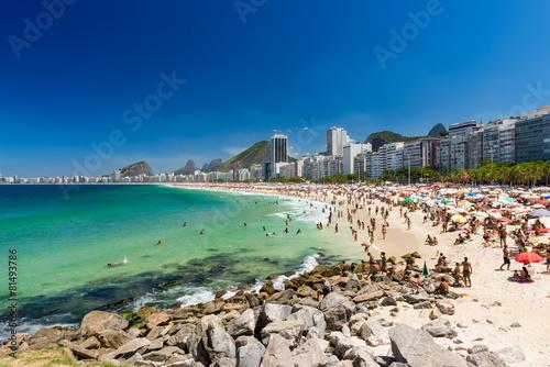 City on the water Copacabana and Leme beaches in Rio de Janeiro, Brazil