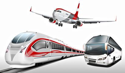 Fototapeta Bus, Reisebus, Flugzeug, Schnellzug, Transport, Verkehrsmittel