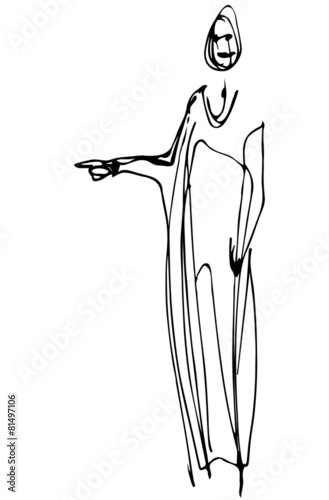 Deurstickers Illustratie Parijs vector sketch of a woman is pointing direction