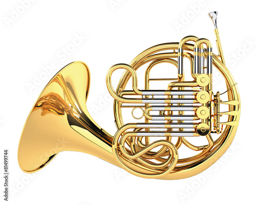 Fotografia  Double French Horn isolated