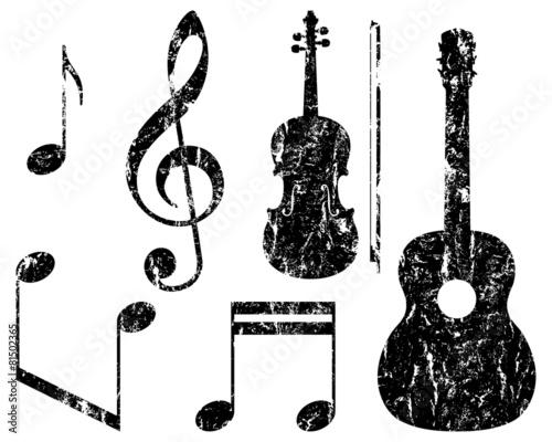 grunge music elements, guitar, violin, treble clef and notes Fototapeta