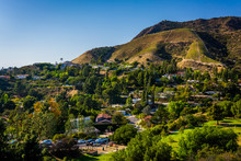 View Of Houses And Hills In Hollywood From Canyon Lake Drive In