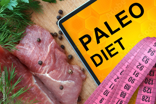 Tablet with Paleo diet and Fresh Meat Wallpaper Mural