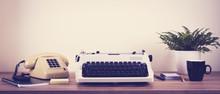 Vintage Typewriter And Phone O...