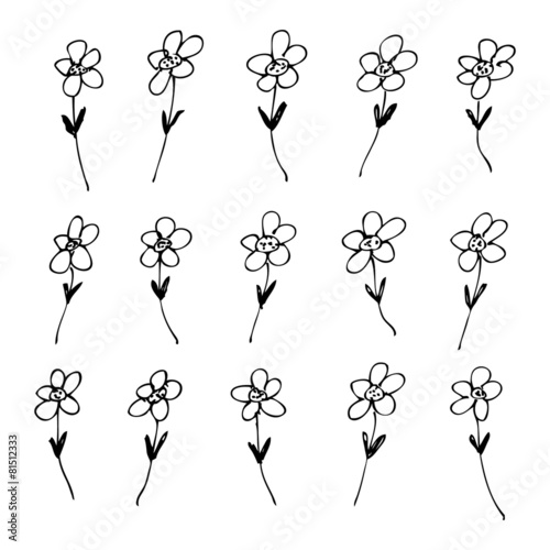 In de dag Abstractie Art Hand drawn pen and ink style illustration of flowers