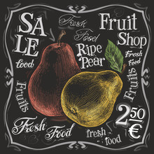 Ripe Pear Vector Logo Design Template.  Fresh Fruit, Food Or