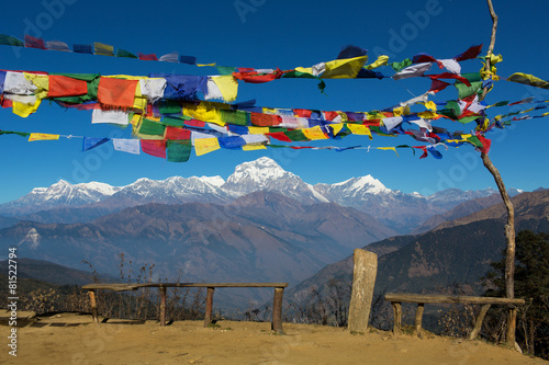 Fotografie, Obraz  Tibetan Flags at Annapurna Base Camp 4200m (Himalaya, Nepal)