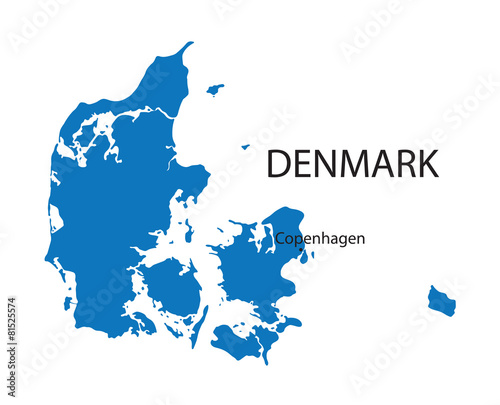 Photo  blue map of Denmark with indication of Copenhagen