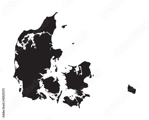 black map of Denmark Canvas Print
