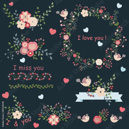 Papiers peints Hibou Vintage set of flowers