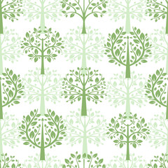 Panel SzklanyGreen trees seamless pattern background