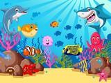 funny cartoon sea life for you design