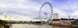 Fototapeta Londyn - view of the London Eye and the City, River Thames, London, UK, E