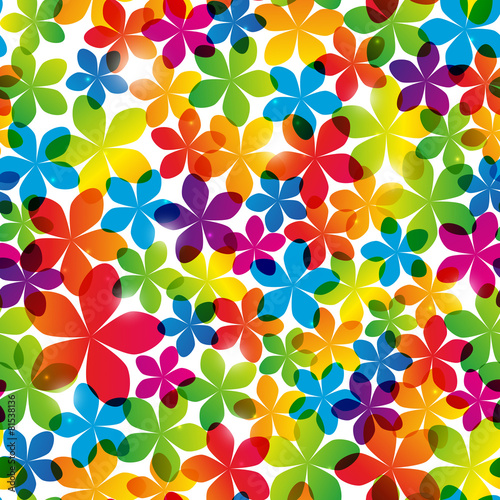 fototapeta na lodówkę Seamless pattern with bright flowers