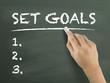 set goals words written by hand