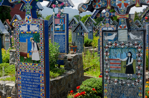 Foto op Canvas Begraafplaats The merry cemetery of Sapanta, Maramures.