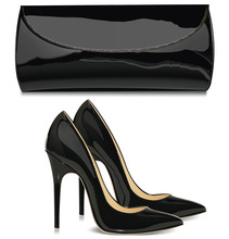 Pair Of Black Female High-heeled Shoes And  Mini Bag
