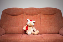 Reindeer Stuffed Toy On Sofa