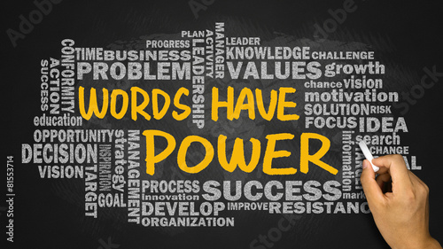 words have power with related word cloud hand drawing on blackbo #81553714