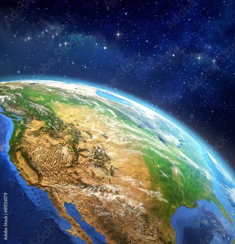 obraz PCV Planeta Ziemia w przestrzeni kosmicznej