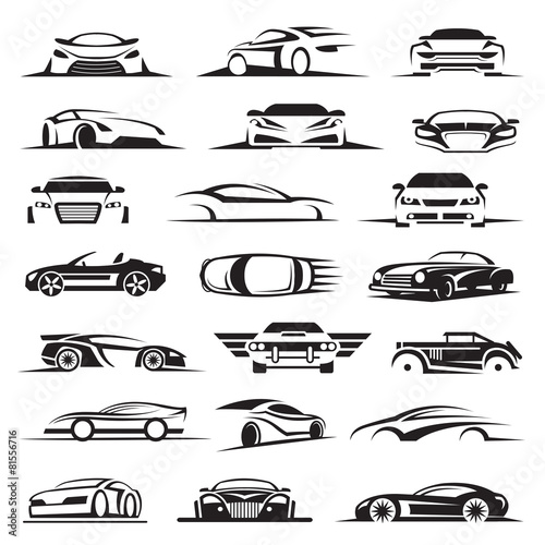 Fototapeta set of twenty-one car icons obraz