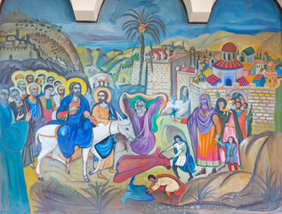 FototapetaBethlehem - fresco of Palm Sunday in Syrian orthodox church