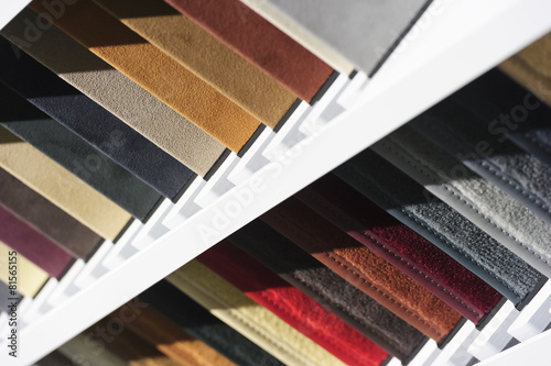 Fotobehang Stof Upholstery and carpet fabric textile samples for car interior