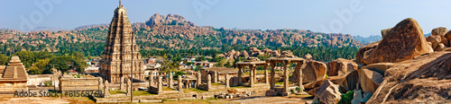 Panorama of Virupaksha temple, Hampi, India